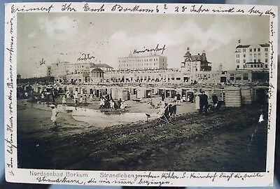 Old Antique Germany 1922 Nordseebad Beach Bathing Huts Scene Postcard Cover