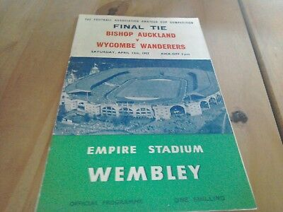 Bishop Auckland v Wycombe Wanderers Amateur Cup Final Football Programme 13/4/57