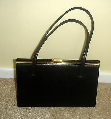 Vintage Adrian Gold London Black Real Leather Overarm Kelly Handbag Bag For Tlc