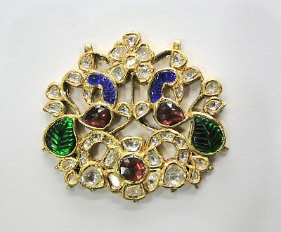Vintage antique Solid 20k Gold jewelry Diamond Polki Rhodolite Enamel Pendant