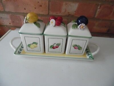Villeroy & Boch 4 Piece Jam Preserve Set with Tray French Garden Charm