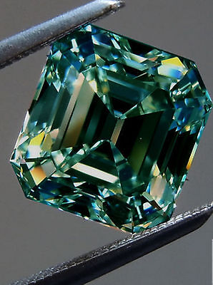 3.22 ct VvS1/8.41MM GREEN BLUE COLOR LOOSE EMERALD REAL MOISSANITE NRING/PENDANT