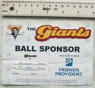 2002 ticket Huddersfield Giants v. Dewsbury Rams