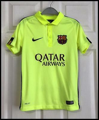 Boys Bright Yellow Official Nike Barcelona Away Shirt Age 8-9-10 Years