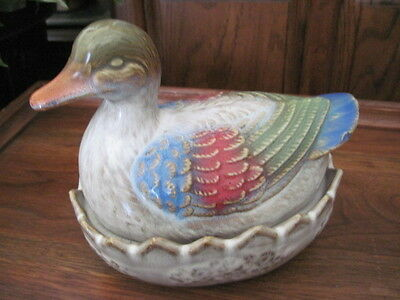 Vintage Pottery Painted Brown Sitting Duck on Nest 2 Piece sm. Casserole Candy