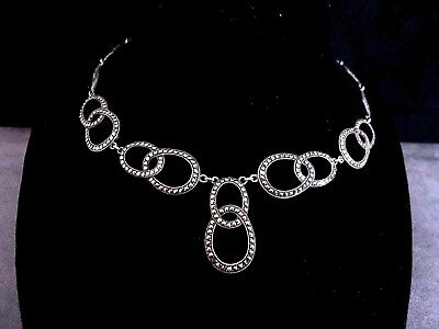 Vintage Art Deco German 800 Silver & Marcasite Geometric Drop Necklace