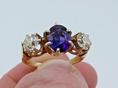 Antique Victorian 1.00 Ct European Cut Diamond And Amethyst Three 3 Stone Ring