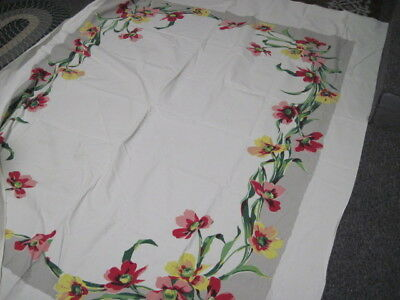 Vtg Tablecloth Heavy Cotton Red & Yellow Poppies Grey Border COTTAGE CHIC 62X80""