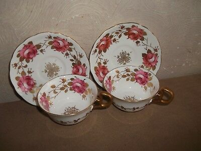 Radfords Pink/gold Roses Cups & Saucers X 2