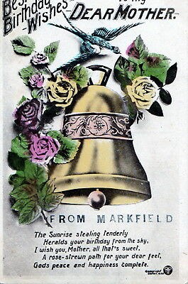 Postcard -  Best Birthday Wishes from Markfield, Leicestershire - posted 1920.
