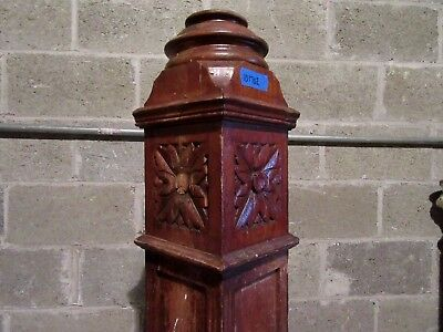"~ Antique Carved Oak Newel Post ~  52"" Tall ~  Architectural Salvage ~"