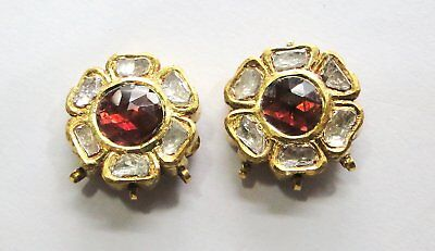 Vintage antique solid 20k Gold jewelry Diamond Polki Rhodolite Earring Pair