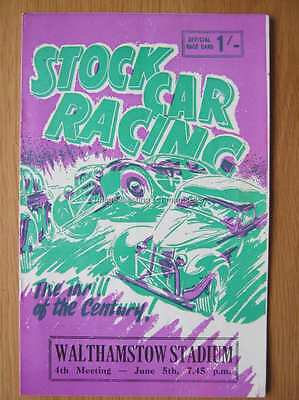 Stock Car Racing Programme Walthamstow 5 June 1964
