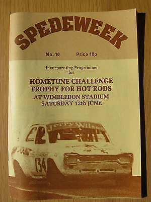 Stock Car Racing Programme Spedeworth Spedeweek No 16 June 1976 Wimbledon Rods