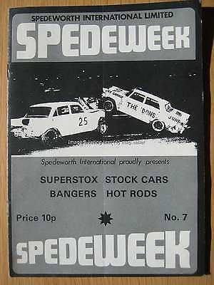 Stock Car Racing Programme Spedeworth Spedeweek No 7 March 1975 Aldershot