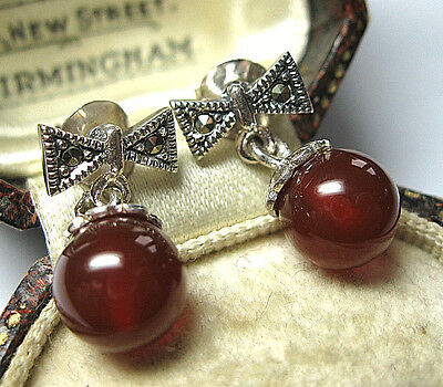Vintage Edwardian Style Jewellery Sterling Silver Marcasite Carnelian EARRINGS