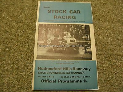 Stock Car Racing Programme Hednesford F1 Senior Stock Cars 7th June 1970