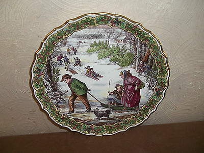 Spode Victorian Christmas Plate Sleighing