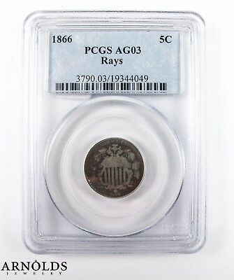 1866 Five Cent PCGS AG03 Rays
