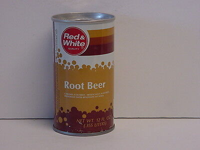 Vintage Red & White Root Beer Straight Steel Pull Tab Bottom Opened Soda Can