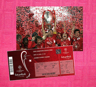 Liverpool 2005 Champions League Winners Photo + Ticket Repro Gerrard Dudek