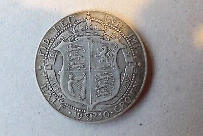 British Edwardian Sterling Silver Halfcrown Coin 1910 Good Fine Grade Nice.