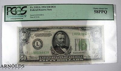 1934 $50 Federal Reserve Note, Choice About New 58PPQ
