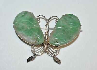 Antique Chinese Gilded Silver Carved Apple Green Jadeite Jade Butterfly Brooch