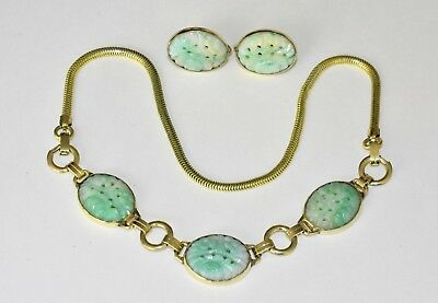Set of Antique Chinese Gold Filled Carved Green Jadeite Jade Necklace & Earrings