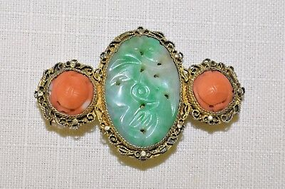Antique Chinese Gold Gilt Silver Carved Apple Green Jadeite Jade Coral Brooch