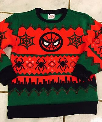 Marvel Spiderman Christmas Sweater New Sz Adult Sm Red & Green