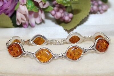 Sterling Silver And Baltic Amber Bracelet - Gorgeous !
