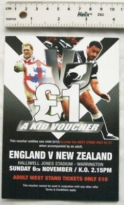 £1 Kid Voucher - England v. New Zealand, rugby league