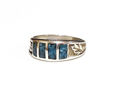 Vintage Turquoise Ring Sterling Silver Wedding Band Native American Sz 5.5