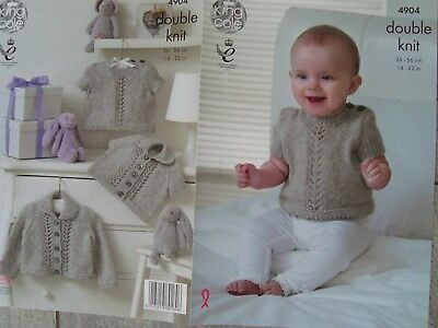 King Cole 4904 Baby's Cardigans & Sweater DK Knitting Pattern Sizes 14-22""
