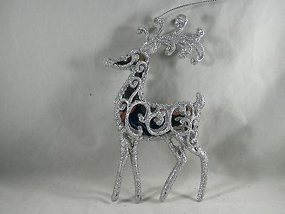 Silver Glittered Mirrored Reindeer Christmas Tree Ornament new holiday