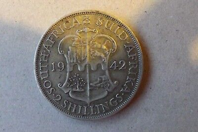 South Africa British Silver 2 Shillings Coin 1942 Very Fine Grade Very Nice.