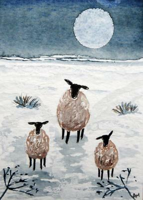Original ACEO Watercolour Painting: ANIMALS:  SHEEP AND LAMBS IN SNOWY MOONLIGHT