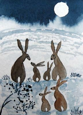 Original ACEO Watercolour Painting: ANIMALS/HARES: HARES IN THE WINTRY MOONLIGHT