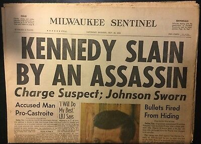MILWAUKEE SENTINEL newspaper, Nov. 23, 1963, John F Kennedy assassination banner