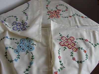 """Vintage hand embroidered daisy flowers table cloth 52"""" square unused"""