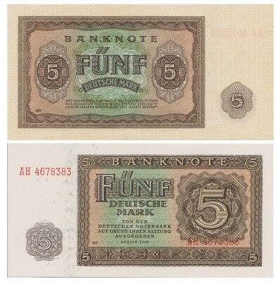 Five DeutscheMarks German banknote issued in 1948 AH aunc