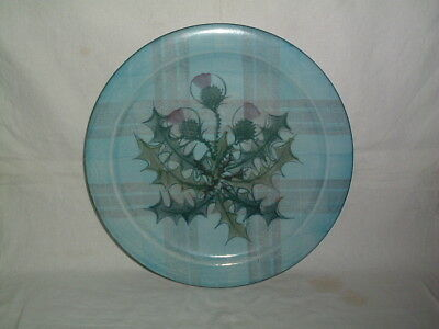 Scottish Tain Pottery Wall Charger Tartan With Thistle Design