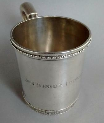 1869 Antique 19th C. Tiffany Union Square Sterling Silver Christening Mug