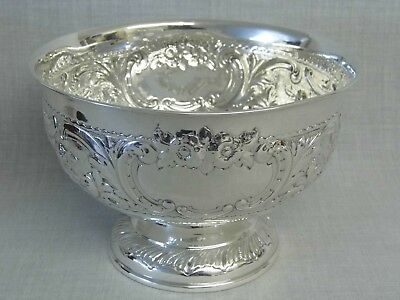 A Stunning Large Antique Solid Sterling Silver Fruit Punch Bowl - London 1901