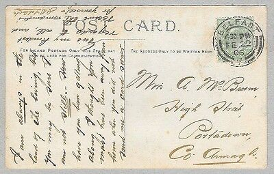 1906 Postcard sent to Miss A. Mc Broom, High Street, Portadown, County Armagh