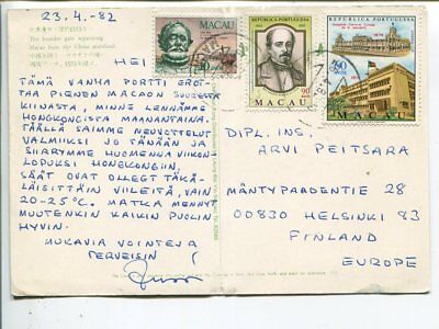 Macao  post card to Finland 1982