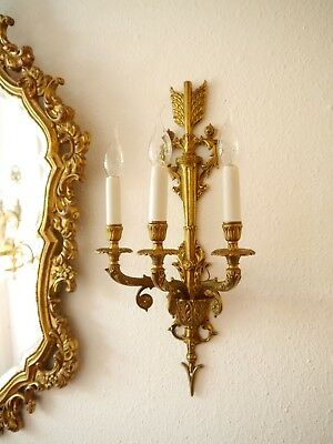 pompous 3 light empire fine brass pair french wall lamps sconces old vintage