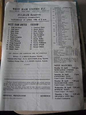 1985-86 West Ham United v Fulham reserves Football Combination 19.4.1986