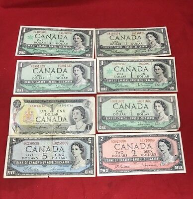 Lot of $13 Bank Of Canada  Que. II  Circulated Banknotes